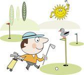 Vektor tecknad glada golfare gå på golfbana. — Stockvektor