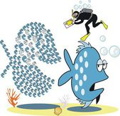 Vector cartoon showing large shoal of fish being photographed by diver. — Stock Vector