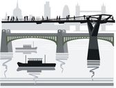 Vector illustration of pedestrians crossing city footbridge over Thames River, London, England. — Stock Vector