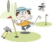 Vector de dibujos animados del golfista observando aves volar lejos con bola. — Vector de stock