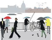 Vector illustration of pedestrians along Embankment, London England. — Stock Vector