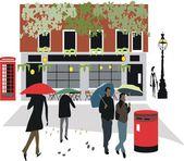 Vector illustration of London pub with pedestrians walking in rain. — Stock Vector