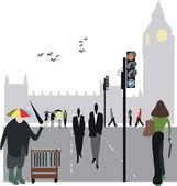 Vector illustration of pedestrians near Parliament buildings, London England. — Stock Vector