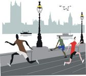 London joggers illustration — Stock Vector