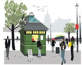 Vector illustration showing newspaper stall in London, England. — Stock Vector