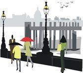 London wharf illustration — Stock Vector