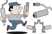 Vector cartoon of mechanic running with car mufflers. — Stock Vector
