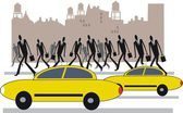 Vector illustration of yellow taxis and commuters in New York. — Stock Vector
