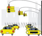 Vector illustration of yellow taxis and traffic lights in New York. — Stock Vector