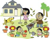 Vector cartoon of smiling family enjoying working outdoors in garden. — Stock Vector