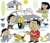 Vector cartoon of happy African America family washing car. — Stock Vector