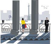 Vector illustration of Trafalgar Square, London from National Gallery. — Stock Vector