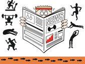 Vektorové karikatura člověka čtenářský deník tělocvičny a cvičení. — Stock vektor