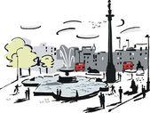 Vector illustration of Trafalgar Square, London England. — Stock Vector