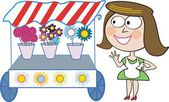 Vector cartoon of smiling woman with flower stall. — Stock Vector