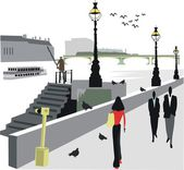 Vector illustration of walking along London city Embankment. — Stock Vector