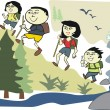 Vector cartoon of happy Asian family hiking in wilderness park — Stock Vector