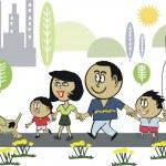 Vector cartoon of African American family walking in park — Stock Vector #26398337