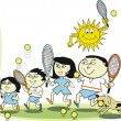 Vector cartoon of Asian family playing tennis — Grafika wektorowa