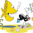 Vector underwater cartoon of skin-diver taking photograph unaware of large fierce fish — Stock Vector