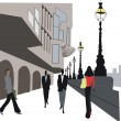 Vector illustration of with umbrellas in London location — Stock Vector