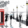 Vector illustration of walking in rain along London Embankment area — Stock Vector #26398669