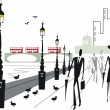 Vector illustration of Embankment area London with double decker buses on Westminster Bridge — Stock Vector #26398671