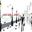Vector illustration of Embankment area London with double decker buses on Westminster Bridge — Stock Vector