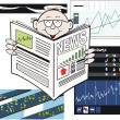 Vector cartoon of business man reading newspaper with stock market rising — Stock Vector #26398675