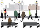 Vector illustration of pedestrians walking along Embankment area, London England — Stock Vector