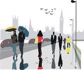 Vector illustration of pedestrians on Westminster Bridge, London with Big Ben in background — Stock Vector