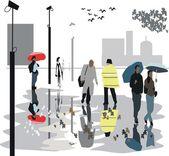 Vector illustration of walking in rain along London — Stock Vector