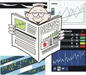 Vector cartoon of business man reading newspaper with stock market rising — Stock Vector