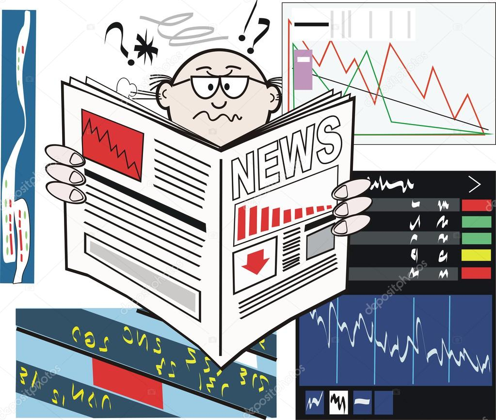 Vector cartoon of business man reading newspaper with stock market rising - Stock Illustration: 26398687