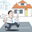 Vector cartoon of architect with plans running to meet deadline for house project — Stock Vector