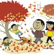 Vector cartoon of happy African family walking outdoors in autumn — Stock Vector