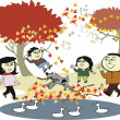 Royalty-Free Stock Obraz wektorowy: Vector cartoon of happy Asian family enjoying walk outdoors in autumn