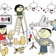 Vector cartoon of happy Asian family creating artworks - Imagens vectoriais em stock