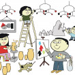 Vector cartoon of happy Asian family creating artworks - Stockvektor