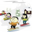 Vector cartoon of happy Asian family skiing on mountain slopes — Stock Vector