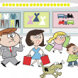 Vector cartoon of family group shopping at department store carrying presents — Stock Vector