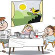 Vector cartoon of happy family group eating breakfast with sun rising outside window — Stock Vector