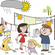 Vector cartoon of happy family working together hanging out laundry despite rain cloud — Stock Vector #26445585