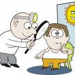 Stock Vector: Vector cartoon of health professional examining patient for sunspot damage