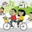 Royalty-Free Stock Vector Image: Vector cartoon of happy African family riding bicycles