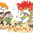Stock Vector: Vector cartoon of happy family walking in park amidst autumn leaves