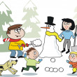 Royalty-Free Stock Vector Image: Cartoon of happy family building snowman in winter