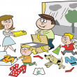 Stock Vector: Cartoon of happy family packing for vacation