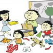 Stock Vector: Cartoon of happy asifamily packing for vacation