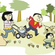 Vector cartoon of happy Asian family walking in park with pet dog — Stock Vector